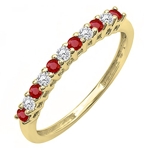 (Dazzlingrock Collection 18K Round Ruby and White Diamond Anniversary Stackable Wedding Band, Yellow Gold, Size 7)