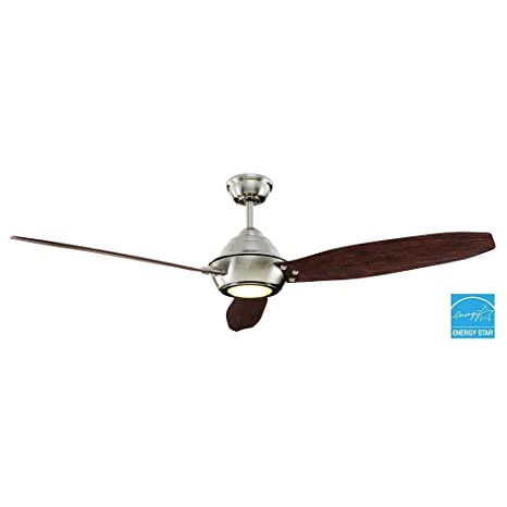 Home Decorators Collection Aero Breeze 60 Inch Integrated Led Indoor Outdoor Brushed Nickel Ceiling Fan With Light Kit And Remote Control