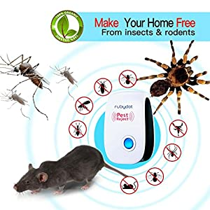 Ultrasonic Pest Repeller - BEST Mice Repellent (6 Pack) with indoor Electronic Home Pest Control Plug in for Insects, Bug,Spider, Roach, Ant, Mosquito Eco-friendly [Gift Choice, White] [2018 UPGRADED]
