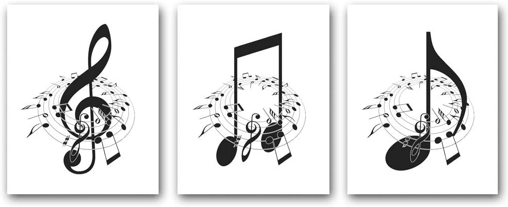 Music Art Print Canvas,Music Notes Wall Decor,Black and White Music Poster for Classroom or Music Room Wall Art Decor,Frameless,Set of 3(8x10inch)