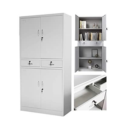 Black Filing Cabinet w 5 Drawer Metal Office Storage Document Cupboard White