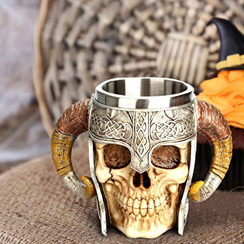 Viking Stainless Steel Skull Coffee Mug Viking Skull Beer Mugs Gift for Men Halloween Father's Day Gifts