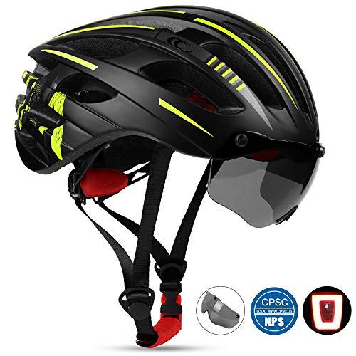 Shinmax Adults Bike Helmet, Road Cycling MTB Bike Helmet for Men & Women Cycling, Racing (Black-Green) ()