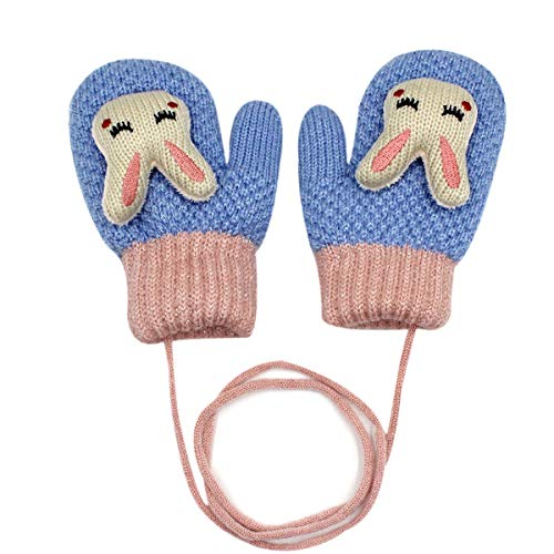 RARITY-US (0-5Y) Unisex Knit Cute 3D Cartoon Bunny Gloves Winter Warm Fingerless Half Finger Mittens for Kids Girls Boys