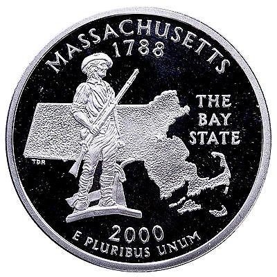2000 S Massachusetts State Quarter Proof GEM BU++ Washington Proof Quarter Cameo