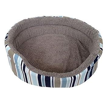 ASC - Cama para mascotas de tamaño mediano, suave, con estampado de rayas azules