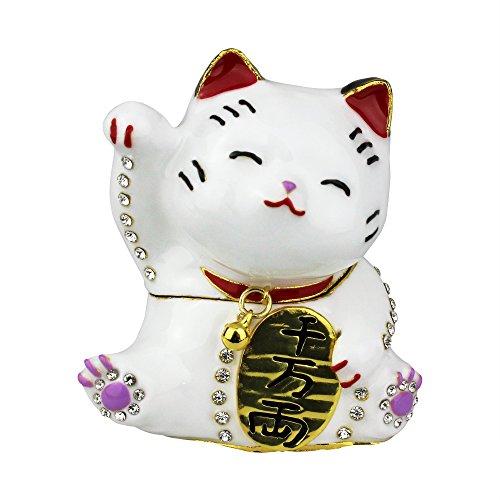 Cat Bejeweled - Maneki Neko Trinket Box Bejeweled Japanese Money Lucky Cat
