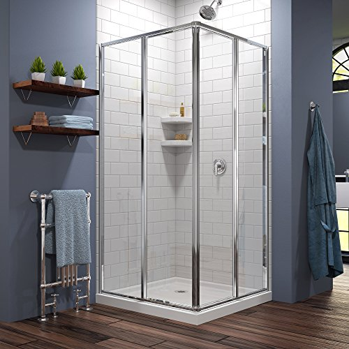 DreamLine Cornerview 36 in. x 36 in. Framed Sliding Shower Enclosure in Chrome with White Acrylic Base Kit, DL-6710-01