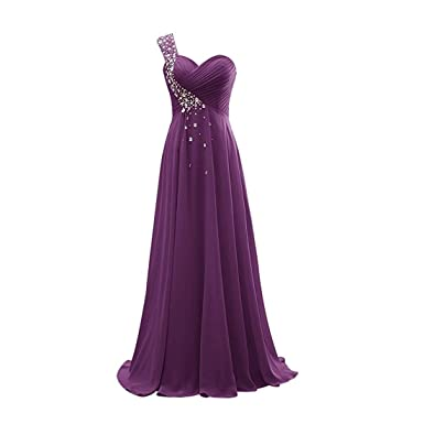 Macria Womens One Shoulder Long Bridesmaid Prom Dresses Chiffon Evening Gowns