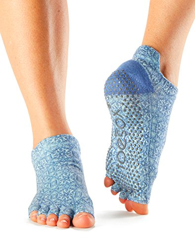 ToeSox Women's Low Rise Half Toe Grip Socks (Mirage) Small