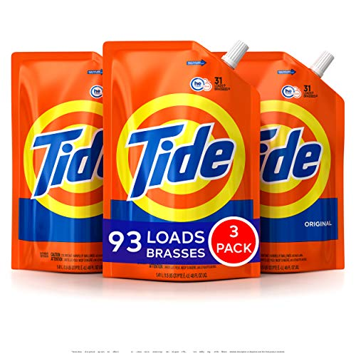 Tide Laundry Detergent Liquid, Original Scent, HE Turbo Clean, Pack of 3 Smart Pouches, 48 oz Each, 93 Loads Total