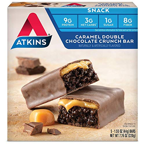 Atkins Snack Bar, Caramel Double Chocolate Crunch, 5 Count