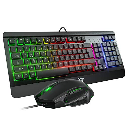 VicTsing Gaming Keyboard Mouse Combo, Ultra-Slim Rainbow LED Backlit Keyboard with Ergonomic Wrist Rest, Programmable 6 Button Mouse for Windows PC Gamer, Spill-Resistant Design - Black