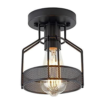 Create for Life Industrial Vintage Rustic Semi Flush Mount Ceiling Light, Metal Cage Pendant Lighting Lamp Fixture for Hallway Stairway Kitchen Garage, E26, Black Painting Finish