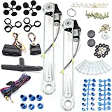 Window Kit 3mA 12V Car Electric Power Window Lift Roll Up Regulator Conversion Kit W/2 Swithch and Hardware Universal 2 Door Power Window Kit Suit for Car Truck SUV Van