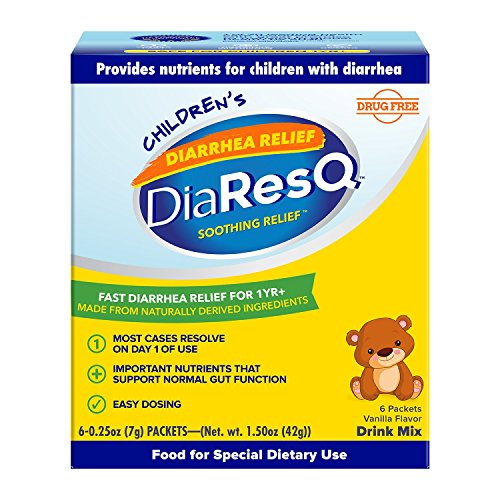 DiaResQ Children's Soothing Diarrhea Relief - (Vanilla, 6 ct) Fast-Acting Diarrhea Relief that is Safe, Drug-Free, and Effective in Relieving Diarrhea for Children 1 Yr. and Older