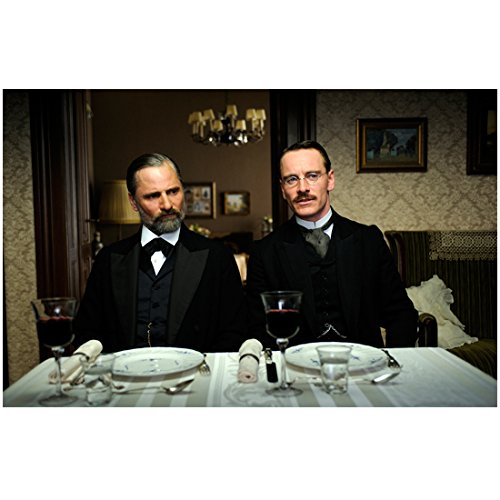 A Dangerous Method Viggo Mortensen as Freud with Michael Fassbender as Jung seated at dinner table 8 X 10 Inch Photo