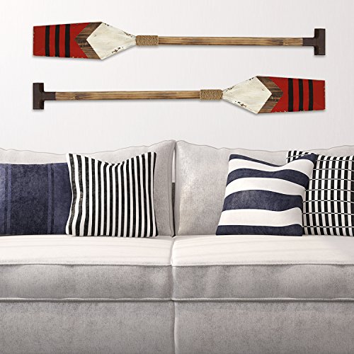 Stratton Home Decor S07724 Nautical Oar Wall Decor, Red