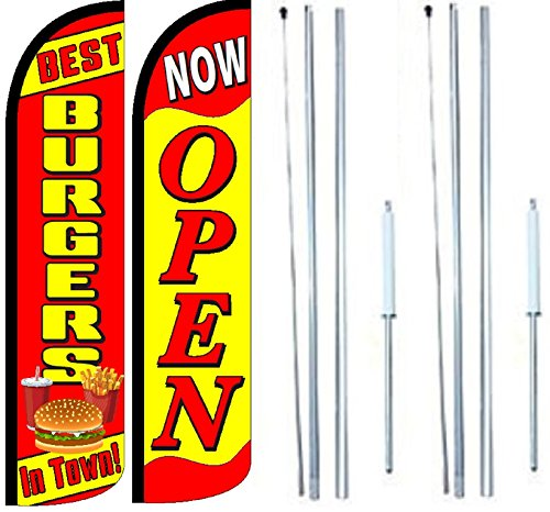 Best Burgers In town Now Open King Windless Flag Sign With Complete Hybrid Pole set - Pack of 2 by OnPoint Wares