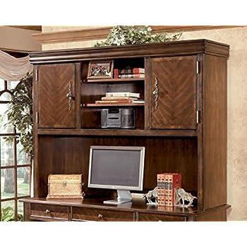 Ashley Furniture Signature Design   Hamlyn Home Office Desk Hutch   3  Shelves   Medium Brown