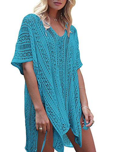 shiny star show 2018 Hollow Beach Blouse Knit Sunscreen Clothing Swimwear Blouse,Lake Blue by shiny star show