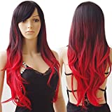 S-noilite Long Ombre Cosplay Hair Wigs Women Natural Wavy Heat Resistant Synthetic Dip Dye Full Wig with Bangs Colorful Party Costume (28inch, Black to Red)