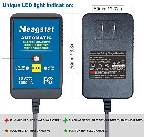 Heagstat 12V Acid/Lithium Charger for Lawn SLA and More