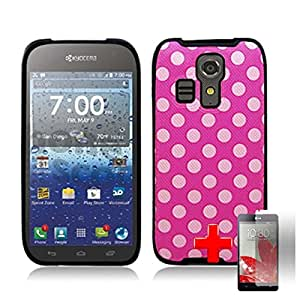 Kyocera Hydro Icon C6730 - One Piece TPU Rubber Border Image Case Cover, White Polka Dot Spot Pattern Pink Cover + SCREEN PROTECTOR