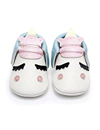 HONGTEYA Personalized Baby Boys Girls First Walkers Non-slip Golden Angle Unicorn Crib Shoes Moccasins