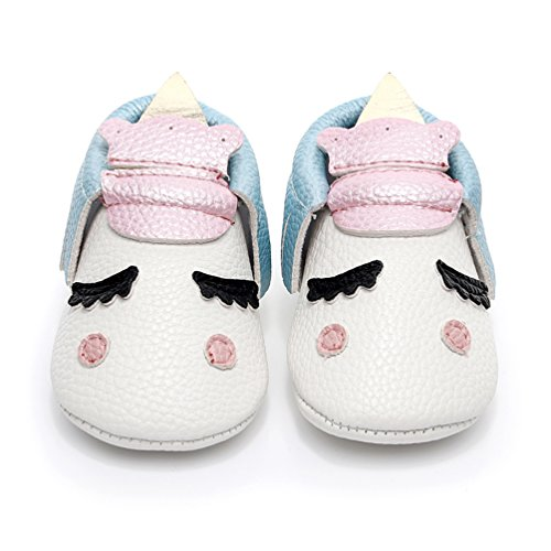 HONGTEYA Personalized Baby Boys Girls First Walkers Tassel Soft Non-Slip Blush Golden Angle Unicorn Crib Shoes Moccasin Sandal (18-24 Months/US 8/5.91''/ See Size Chart, Blue) by HONGTEYA