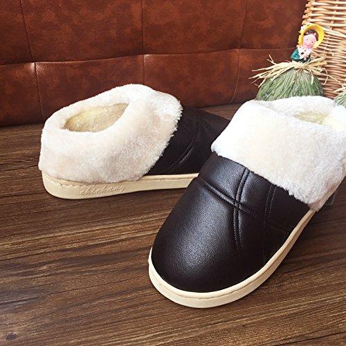 LaxBa Glisser sur lhiver au chaud en Fausse Fourrure Chaussons neige bordée Chaussures pour hommes Black 44/45