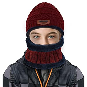 VBIGER Kids Winter Hat and Scarf Set Warm Knit Beanie Cap and Circle Scarf with Fleece Lining for Children Boys Girls
