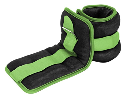 Reehut Durable Ankle/Wrist Weights (1 Pair) w/ Adjustable Strap for Fitness, Exercise, Walking, Jogging, Gymnastics, Aerobics, Gym - Green - 1 lbs (×2)