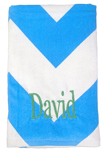 - Kute Kiddo Personalized Beach Towel Cotton 30in X 60in (Turquoise Chevron)