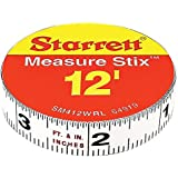 """Starrett. Measure Stix SM412WRL Steel White Measure Tape with Adhesive Backing, English Graduation Style, Right To Left Reading, 12' Length, 0.5"""" Width, 0.0625"""" Graduation Interval"""