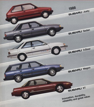 1988 Subaru Line Sales Brochure - Justy RX Turbo XT GL