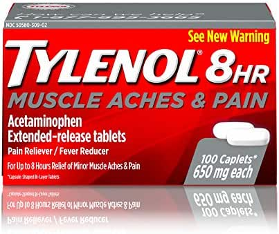 Tylenol 8 Hour Muscle Aches & Pain Acetaminophen Tablets for Muscle & Joint Pain, 100 ct