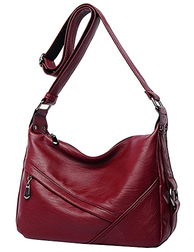 Review Molodo Women PU Leather Big Shoulder Bag Purse Handbag Tote Bags Wine-red