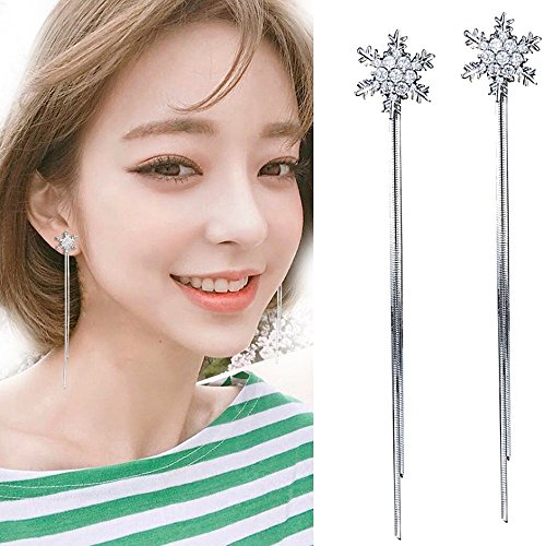 Handmade Earrings Dangling (A&C Fashion Korean Version Chic Rhinestone Star and Tassel Ear Line for Women. Unique Handmade Earrings Jewelry for Girl. (Silver Color))