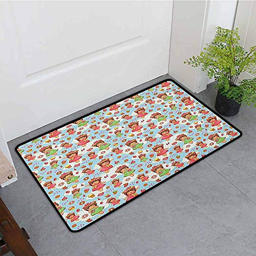 Anime Large Outdoor Indoor Rubber Doormat Cute Little Girls with Fruit Waffle Hats Cookies Donuts and Cupcakes Yummy Pastries Personality W35 x L59 Multicolor