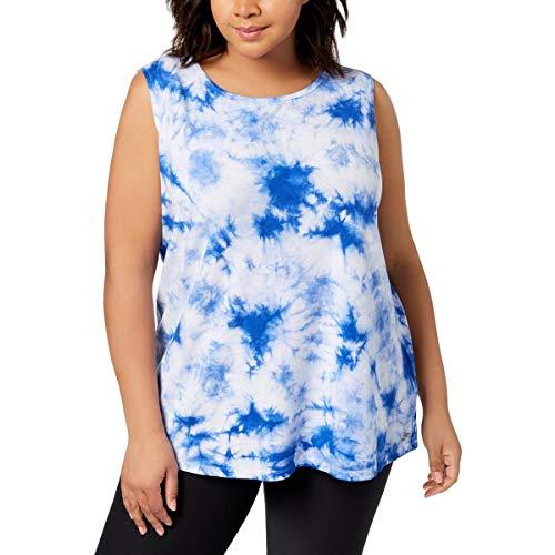 Calvin Klein Womens Plus Tie-Dye Keyhole Tank Top Blue 2X ()