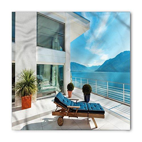 Cheap  Travel Bandana by Lunarable, Lake House with Patio Balcony with Idyllic Mountain..