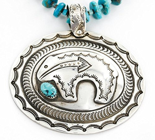 Collectable Large Handmade Certified Authentic Bear Navajo .925 Sterling Silver Natural Turquoise Native American Pendant and Necklace