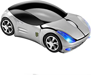 Usbkingdom 2.4GHz Wireless Mouse Cool 3D Sport Car Shape Ergonomic Optical Mice with USB Receiver for PC Laptop Computer Women Small Hands(Silver)