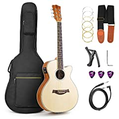 Vangoa 36 Inch 3/4 Acoustic Electric Cutaway Guitar Folk Guitar Spruce wood Travel Guitar, 2 Band EQ with Truss Rod, Capo, Tuner, Extra Strings, Guitar Cable, Picks, Strap and Gig Bag       Descriptions