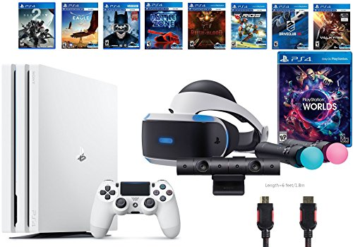 PlayStation VR Launch Bundle 9 Items:VR Launch Bundle,PlayStation 4 Pro 1TB Destiny 2 Bundle,7 VR Game Disc Rush of Blood,Valkyrie,Battlezone,Batman: Arkham VR,DriveClub,Combat League,Eagle Flight by Sony VR