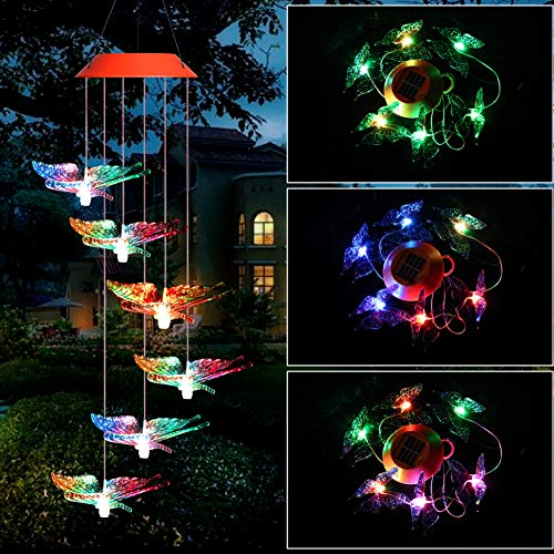 AMEIMALL Solar Butterfly Wind Chime, Mobile Wind Chimes Outdoor, Solar Wind Chimes Changing Colors, Waterproof Solar Powered LED Changing Light, Outdoor Decor (Gifts for Mom, Birthday Gift)