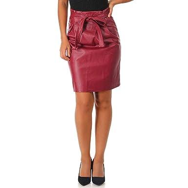 d82fe475b6c717 La Modeuse - Jupe Bordeaux en Simili Cuir: Amazon.fr: Vêtements et ...