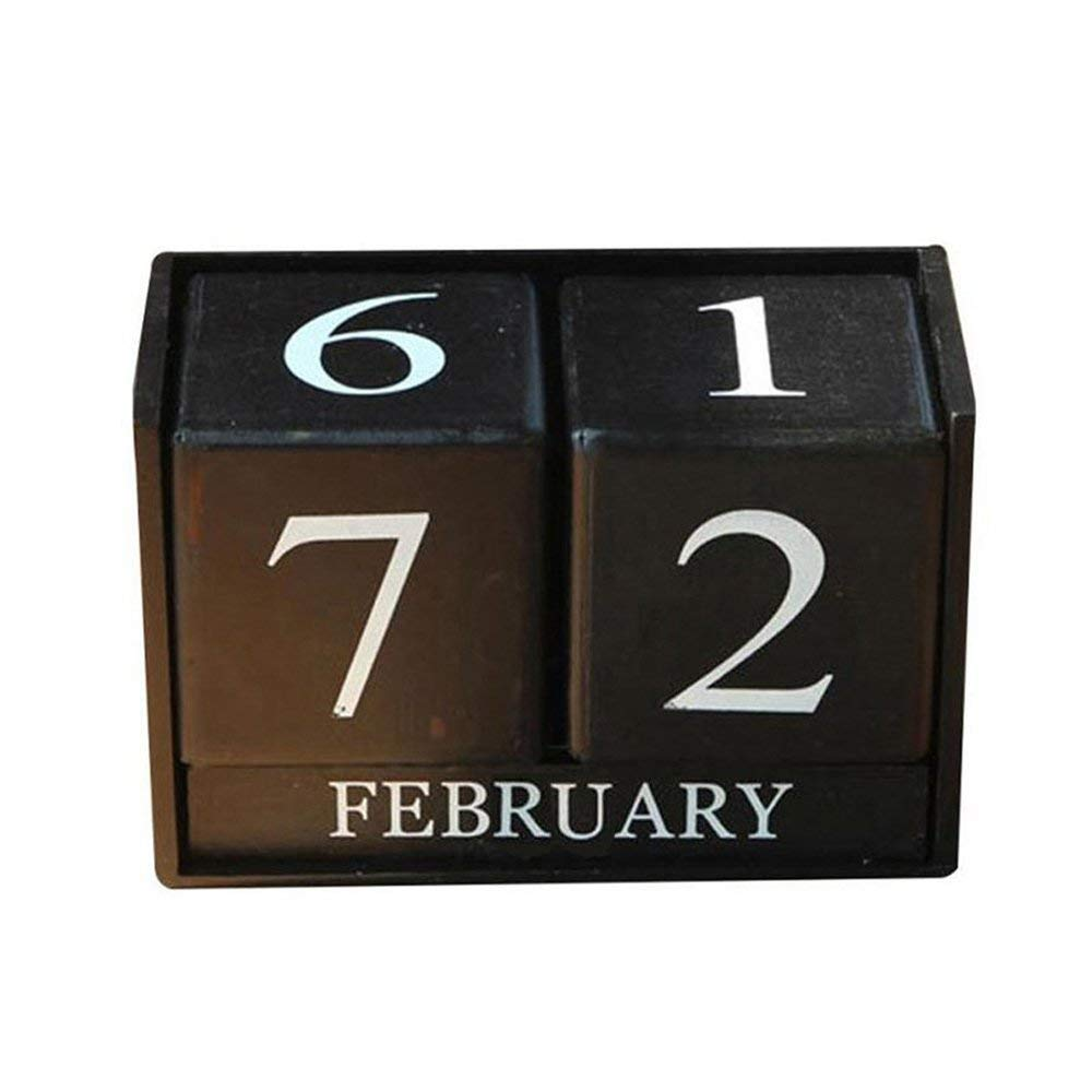 Vpang Vintage Wooden Calendar Desktop Time Concept Rustic Wood Perpetual Block Month Date Display Home Office Decoration (Black)