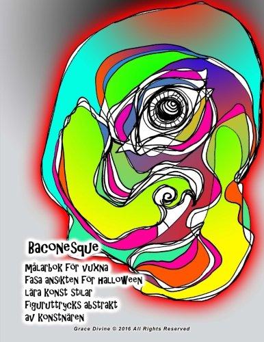 Baconesque målarbok för vuxna fasa ansikten för halloween